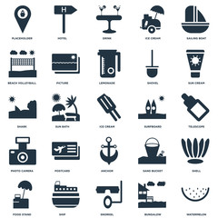 Elements Such As Watermelon, Telescope, Sun cream, Hotel, Food stand, Picture, Sand bucket, Shark icon vector illustration on white background. Universal 25 icons set.