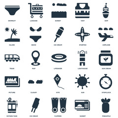 Elements Such As Pineapple, Sunset, Flippers, Ice cream, Oxygen tank, Airplane, Lighthouse, Kite, Picture, Island, Luggage icon vector illustration on white background. Universal 25 icons set.