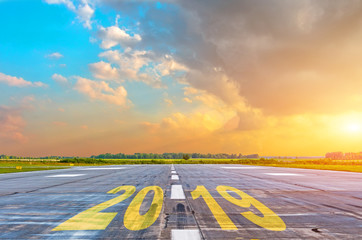 The inscription on the runway 2019. Concept of success in the future.