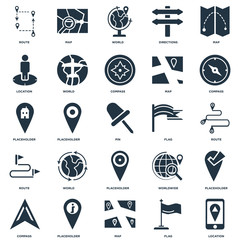 Elements Such As Location, Flag, Map, Placeholder, Compass, Route, World, Map icon vector illustration on white background. Universal 25 icons set.