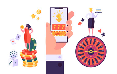 Online Gambling Internet Casino Concept. People Characters with Roulette, Chips, Slots, Dice, Jackpot. Playing Casino using Smartphone. Vector Illustration