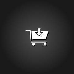 Online shopping icon flat. Simple White pictogram on black background with shadow. Vector illustration symbol