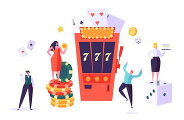แนวคิดคาสิโนและการพนัน  ตัวละครผู้คนที่เล่นในเกมแห่งโชคลาภ  ผู้ชายและผู้หญิงเล่นโป๊กเกอร์, รูเล็ต, สล็อตแมชชีน  ภาพเวกเตอร์