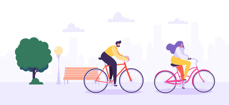 Man and Woman Characters Riding Bicycle in the City Background. Active People Enjoying Bike Ride in the Park. Healthy Lifestyle, Eco Transportation. Vector Illustration
