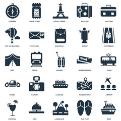 Elements Such As Boat, Train, Motorbike, Train ticket, Cocktail, Postcard, Placeholder, Tent icon vector illustration on white background. Universal 25 icons set.
