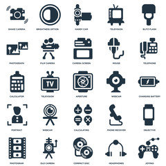 Elements Such As Joypad, Charging Battery, Telephone, Brightness Option, Photogram, Film Camera, Phone Receiver, Calculator icon vector illustration on white background. Universal 25 icons set.