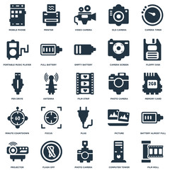 Elements Such As Film Roll, Memory Card, Floppy Disk, Printer, Projector, Full Battery, Picture, Pen Drive icon vector illustration on white background. Universal 25 icons set.