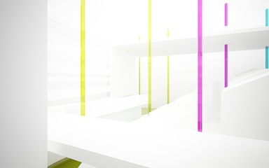 Abstract white interior with colored gradient glossy lines and floor. 3D illustration and rendering