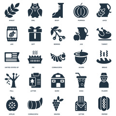 Elements Such As Pepper, Letter, Grapes, Cornucopia, Apples, Turkey, Acorn, Barn, Fall, Jam, Boot, Owl icon vector illustration on white background. Universal 25 icons set.