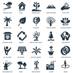 Elements Such As Energy, Save The Earth, Ecological energy source, House, Wind bending Tree, Leaf, Flower, house icon vector illustration on white background. Universal 25 icons set.