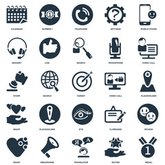 Elements Such As Medal, Rating, Translator, Megaphone, Heart, Video call, Eye, Headset, Telephone, Number 1 icon vector illustration on white background. Universal 25 icons set.