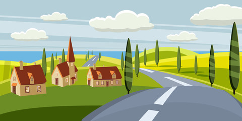 Cartoon landscape with road, higway, countryside and summer, sea, sun, trees, willage, houses. Trip, vacation, travel. Vector illustration, isolated, cartoon style