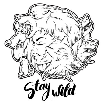 Quote typographical background. Stay wild. Unique hand written lettering. Hand drawn  illustration of young woman face. Template for card poster banner print for t-shirt.