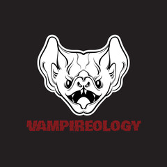 Vector illustration of angry bat with fangs  in hand drawn line style. Unique lettering with trendy blood font. Quote typographical background.  Template for card, poster, banner, print for t-shirt.