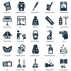 Elements Such As Glass cleaning, Wipe, Shaver cleanin, Wiping trash can, Sink, Dry, sprayer tool, Dress cleanin icon vector illustration on white background. Universal 25 icons set.