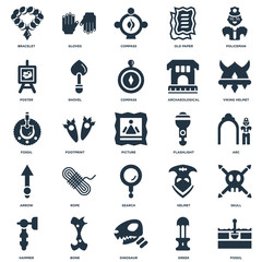 Elements Such As Fossil, Greek, Dinosaur, Bone, Hammer, Viking helmet, Flashlight, Search, Arrow, Poster, Compass, Gloves icon vector illustration on white background. Universal 25 icons set.
