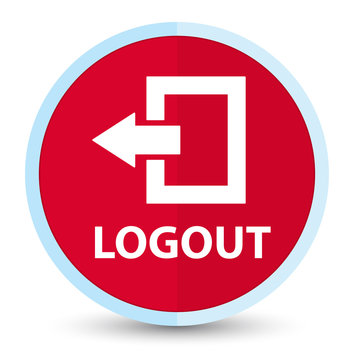 Logout flat prime red round button