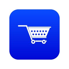 Empty supermarket cart icon digital blue for any design isolated on white vector illustration