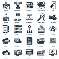 Elements Such As Music, Browser, Monitor, Profits, Sha folder, Worldwide, Video, Folder, Newspaper, Placeholder icon vector illustration on white background. Universal 25 icons set.
