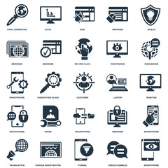 Elements Such As Smartphone, Monitor, Worldwide, Stats, Translation, Browser, Smartphone icon vector illustration on white background. Universal 25 icons set.