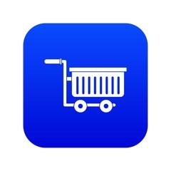 Large plastic supermarket cart icon digital blue for any design isolated on white vector illustration