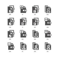 Avi, Wav, Odt, Rar, Eps, Swf, Psd, Cdr, Csv, Py, Ico icon 16 set
