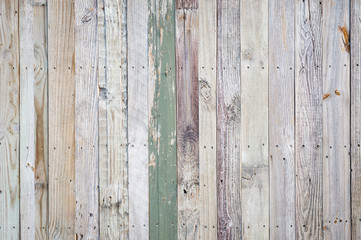 Rustic weathered wooden fence background with rough imperfections and peeling paint on wood grain texture