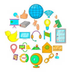 Global information icons set. Cartoon set of 25 global information vector icons for web isolated on white background