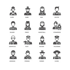 Clown, Priest, Clerk, Rabbi, Policeman, Builder, Pilot, Farmer i