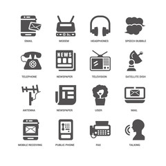 Talking, Newspaper, Email, Modem, Mail, User, Fax icon 16 set EP