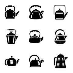 Cast iron kettle icons set. Simple set of 9 cast iron kettle vector icons for web isolated on white background