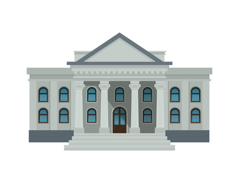 Bank building facade, university or government institution. Public building with high columns isolated on white background. Flat style vector illustration. Eps10.