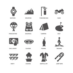 Jump rope, Backpack, Watches, Mountain, Walking, Fishing, Glasse