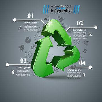 Recycle business infographic. Four items.