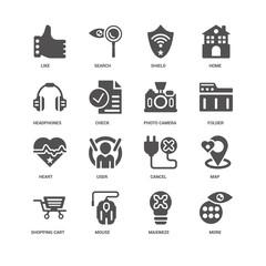 More, Folder, Photo camera, Shopping cart, Map, Like, Headphones