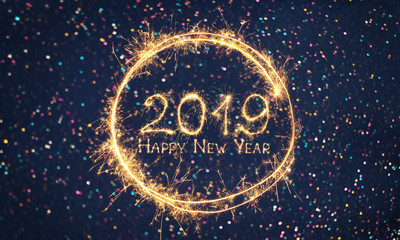 Beautiful holiday web banner Happy New Year 2019