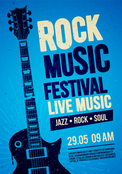 vector illustration blue rock festival concert party flyer or poster design template with guitar, place for text and cool effects in the background