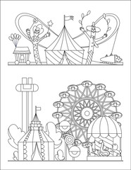 Amusement park, urban landscape with carousels, roller coaster and air balloon coloring book page. Circus, Fun fair and Carnival theme vector illustration.