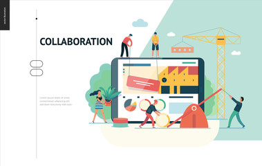Business series, color 1 -company, teamwork, collaboration -modern flat vector illustration concept of people making web page design Business workflow management. Creative landing page design template