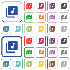 Music library outlined flat color icons