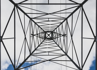 Steel electricity transmission line power tower abstract