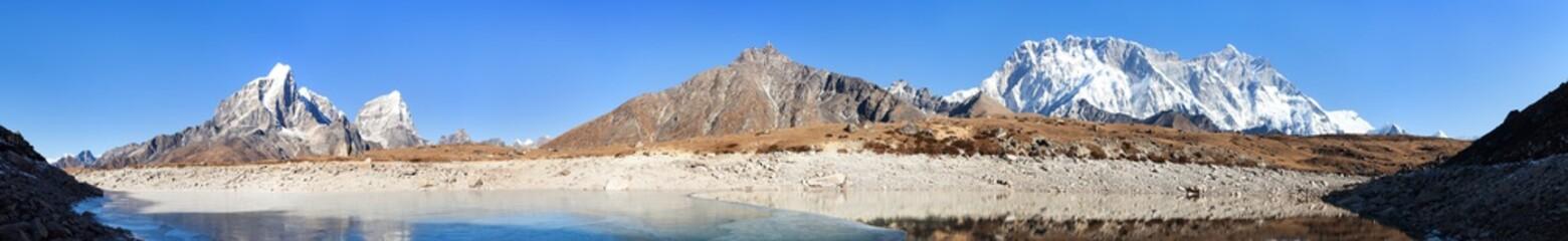 Lhotse and Nuptse south rock face mirroring in lake