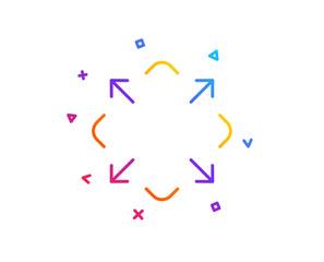 Maximize arrow line icon. Full screen symbol. Maximise Navigation sign. Gradient line button. Maximize icon design. Colorful geometric shapes. Vector