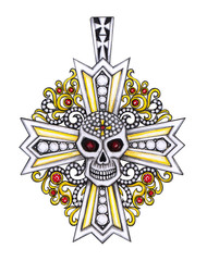Jewelry Design Art Vintage mix Skull  Cross Pendant. Hand drawing and painting on paper.