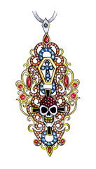 Jewelry Design Art Vintage mix Skull Pendant. Hand drawing and painting on paper