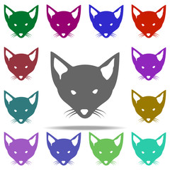 head of a fox silhouette icon. Elements of animals in multi color style icons. Simple icon for websites, web design, mobile app, info graphics