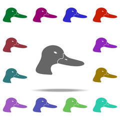 head of duck silhouette icon. Elements of animals in multi color style icons. Simple icon for websites, web design, mobile app, info graphics
