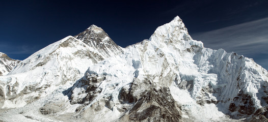 Mount Everest and Nuptse Nepalese himalayas mountains