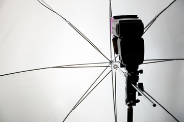 Photo lamp with an umbrella, softbox