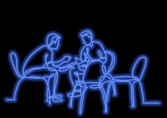 one line drawing of two young men talking with neon vector effect